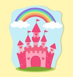 pink princess castle rainbow fairy tale vector image