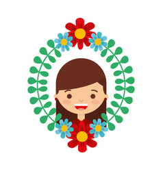 floral wreath leaves with happy girl vector image
