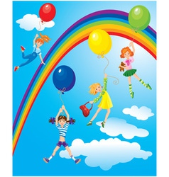 girls flying away on balloons on sky with rainbow vector image vector image