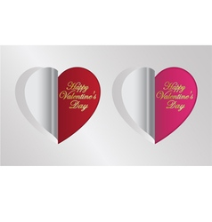red and pink heart folding vector image