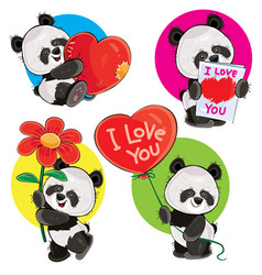 valentine day set with cute panda bears vector image vector image