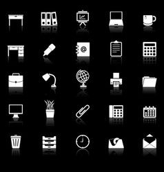 workspace icons with reflect on black background vector image