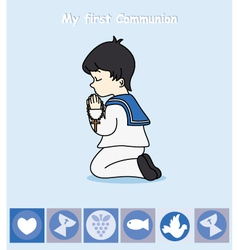 boy praying vector image vector image
