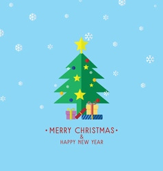Christmas Tree With Gifts Christmas Card vector image