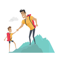 daddy and son go camping sport activities vector image