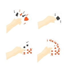 Hand Holding Playing Cards Set vector image vector image