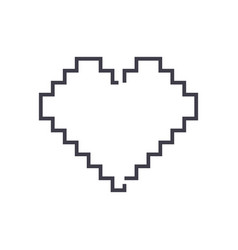 pixel heart line icon sign vector image