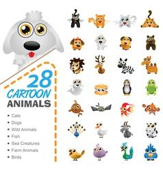 Big set of various cartoon animals and birds vector image vector image