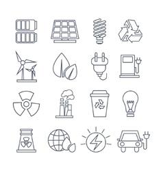 Hand Drawn Eco Energy Icons Set vector image