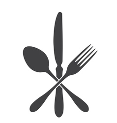 spoon knife and fork - cross vector image vector image