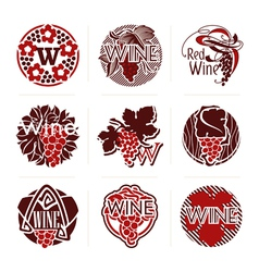 Wine labels and badges - templates for design vector image