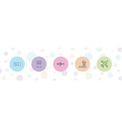 5 plane icons vector