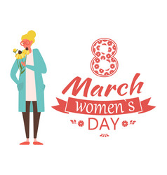 8 march spring holiday lettering congrat and woman vector image