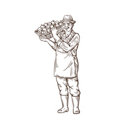 a man is a farmer standing and holding a basket vector image