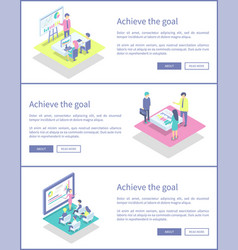 Achieve goal posters set text vector