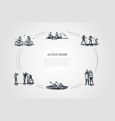 active hikers - people riding bicycles having vector image