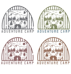 adventure camp with elements of hiking and boots vector image