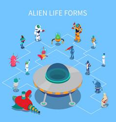 Alien isometric flowchart vector