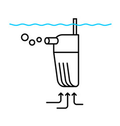Aquarium filter with pump line icon water tank vector
