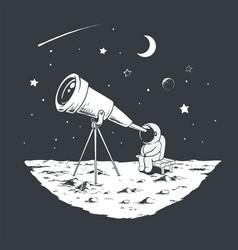 Astronaut watching stars through telescope vector