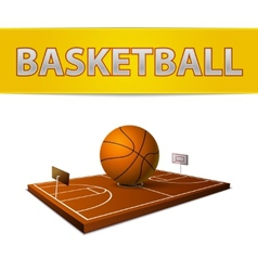 Basketball ball and field with rings emblem vector image