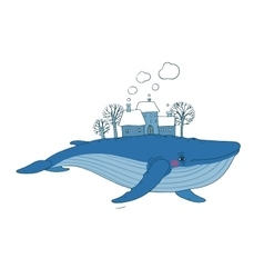 Big beautiful whale with houses and trees in the vector image