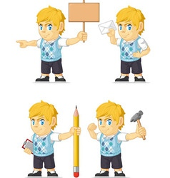 Blonde Rich Boy Customizable Mascot 12 vector