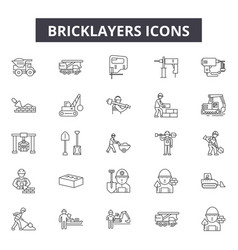 bricklayers line icons for web and mobile design vector image