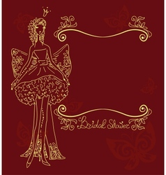 bridal shower hand drawing card vector image
