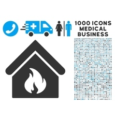 Building Fire Icon with 1000 Medical Business vector image