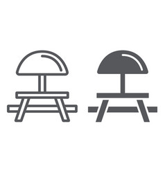 Camping table line and glyph icon furniture and vector