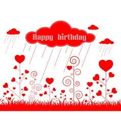 card heart pattern and happy birthday vector image