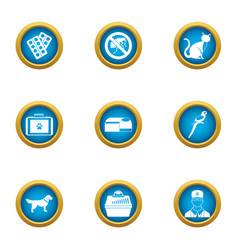 Care of beastly icons set flat style vector