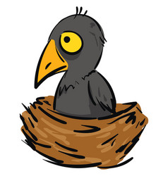 cartoon a small grey crow in a brown nest vector image
