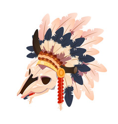 cartoon character buffalo skull with indian vector image