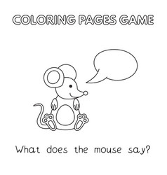 cartoon mouse coloring book vector image