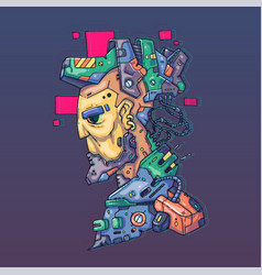 character face in futuristic virtual style cyber vector image