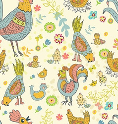 Chicken and rooster cartoon seamless pattern vector image