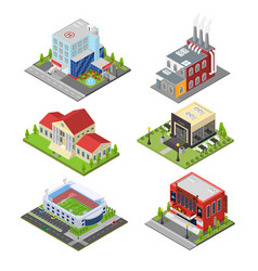 City building set isometric view vector