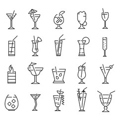classic alcoholic cocktails signs black thin line vector image