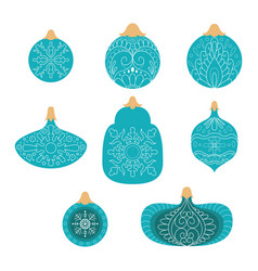 collection blue hand drawn christmas ball vector image