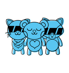 Color cute happy animals friends togethers vector