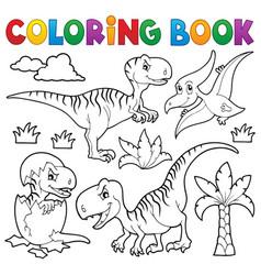 coloring book dinosaur theme 8 vector image