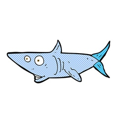 Comic cartoon happy shark vector