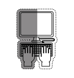 Computer with keyboard vector