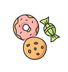 Cookie and candy rgb color icon vector