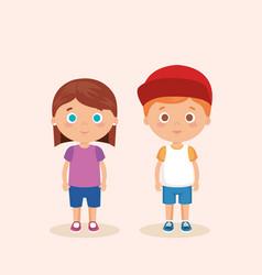 couple little kids characters vector image