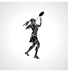 Creative silhouette of abstract female badminton vector image vector image