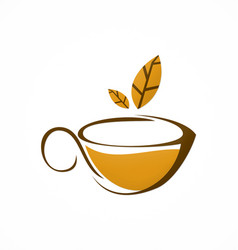 Cup tea brown leaf herbal logo vector