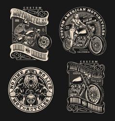 Custom motorcycle vintage labels vector